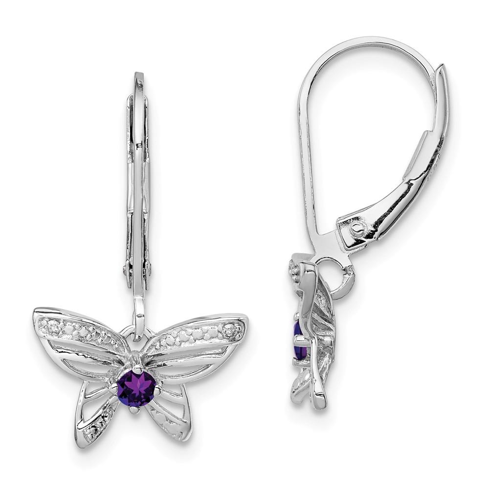 Sterling Silver Amethyst & Diamond Butterfly Earrings. Gem Wt- 0.11ct (0.8IN x 0.5IN )