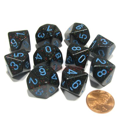 Chessex Set of 10 D10 Dice - Speckled Blue Stars #25138