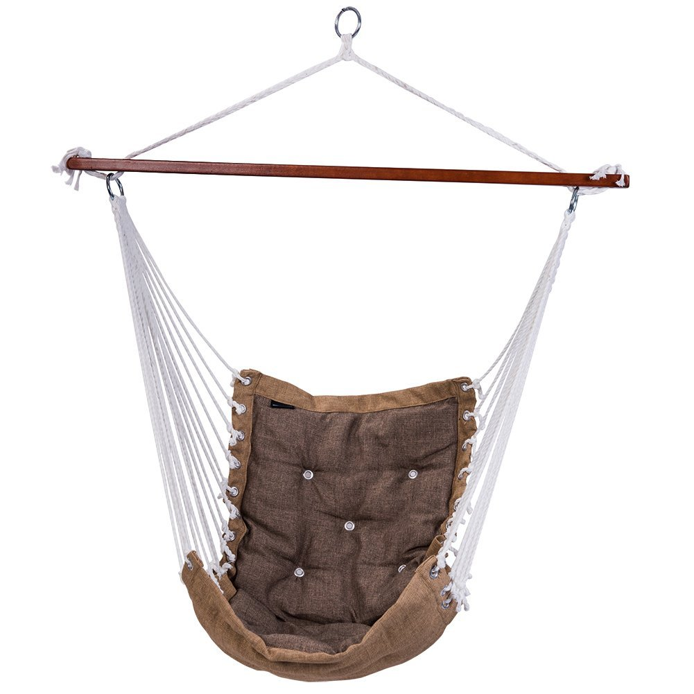 Hanging Rope Hammock Chair Swing Seat for Indoor or Outdoor Spaces,300 lbs Capacity (Light gray)