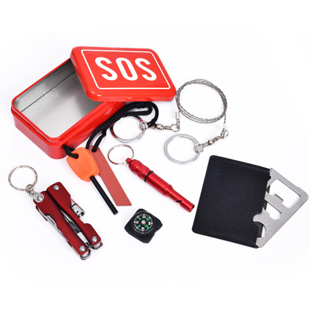 6Pcs Mini Survival Kit,Outgeek Ultimate Travel Emergency Kit Camping Kit Case Outdoor Sport Tools Box for Women Men Extreme Sports... by