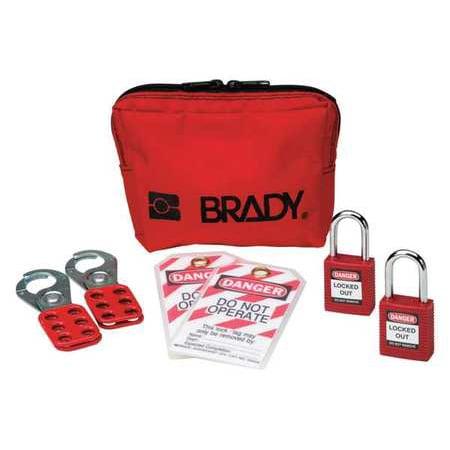 BRADY 105969 Portable Lockout Kit,Electrical,8 (Brass Locknut)