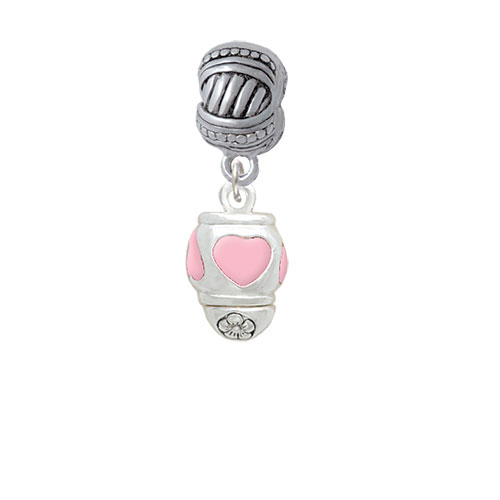 Pink Heart Spinner - Large Rope with Cross Beads Charm Bead