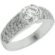 14k White Gold Brilliant Round Antique Diamond Engagement Ring 2 Carats