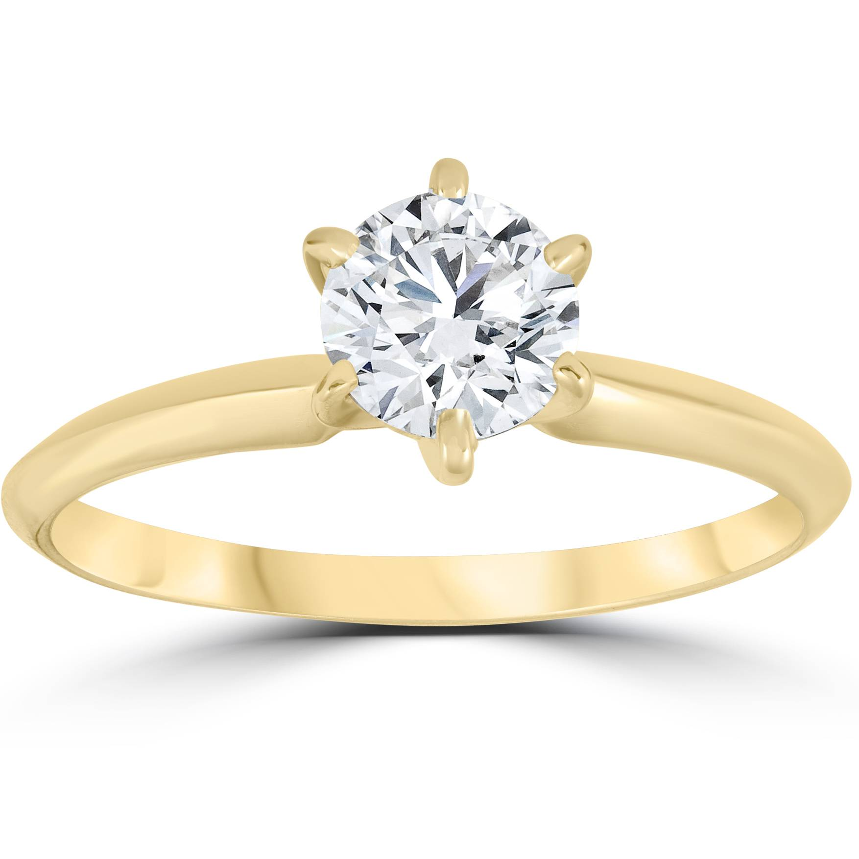 14k Yellow Gold 3 4ct Round Solitaire Diamond Engagement Ring Jewelry Brilliant by Pompeii3