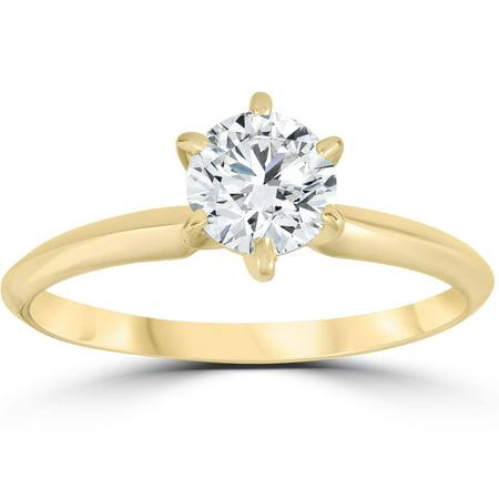 14k Yellow Gold 3/4ct Round Solitaire Diamond Engagement Ring