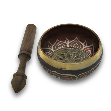 Colored Brass Tibetan Meditation Singing Bowl With Wooden (Tibetan Brass Coral)