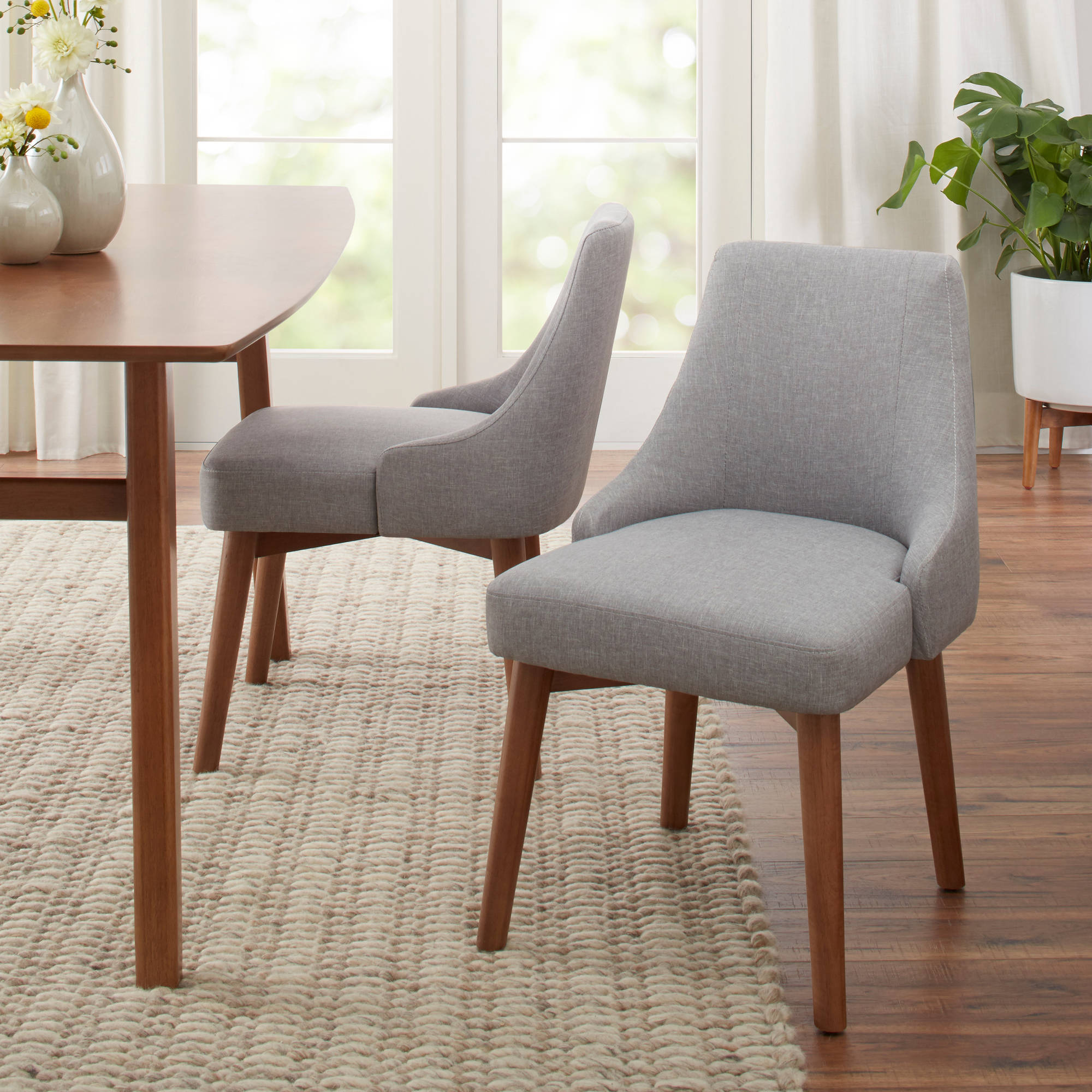Better Homes And Gardens Reed Mid Century Modern Dining Chair, Set Of 2,  Smoke