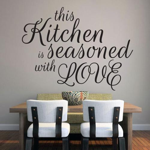 This Kitchen Is Seasoned With Love Wall Decal (48-inch x 36-inch) MUSTARD