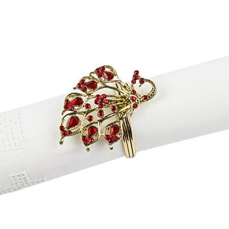 Fennco Styles Jeweled Design Metal Napkin Ring - Set of 4 (Peacock Gold)](Gold Napkin Rings)