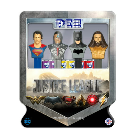 PEZ Candy Justice League Gift Tin with 4 Candy Dispensers + 6 Rolls of Candy