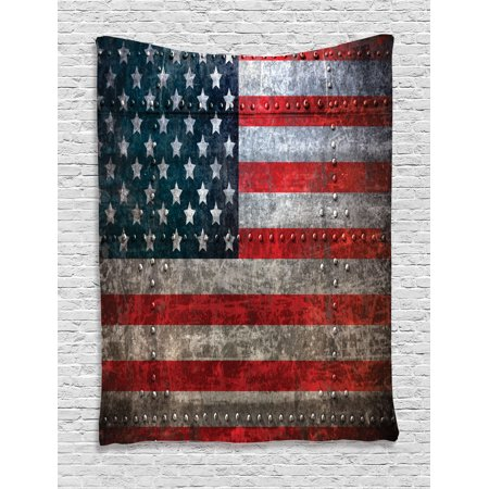 American Flag Tapestry, Royalty Flag Textured US Backdrop on Damaged Board Plate Design Artwork Print, Wall Hanging for Bedroom Living Room Dorm Decor, Red Grey, by Ambesonne ()