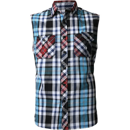 Mens Sleeveless Plaid Shirt Casual Button Down Flannel (Graphic Mens Sleeveless)