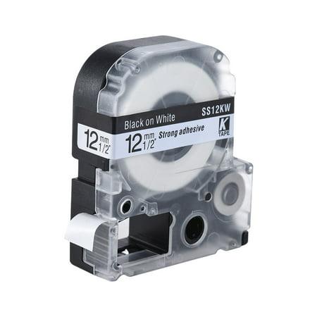 Black on White Label Tape 12mm * 8m Compatible for Kingjim Epson Label Printer LW400/LW600/SR230C/SR230CH/SR530C/SR550C (Epson Lw400 Labels)