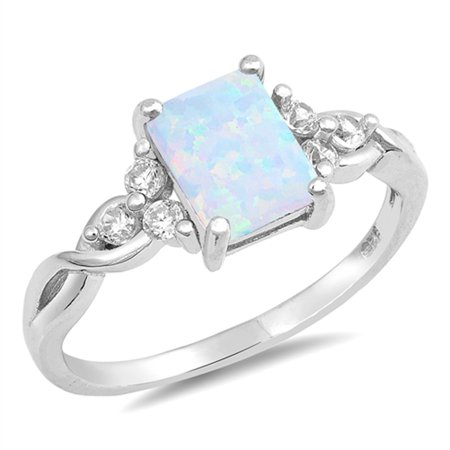CHOOSE YOUR COLOR Rectangle White Simulated Opal Infinity Knot Ring .925 Sterling Silver Band