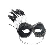 Costume Face Mask Masquerade Mardi Gras Feather Eye Mask Black or Gold Italy Color:: Black