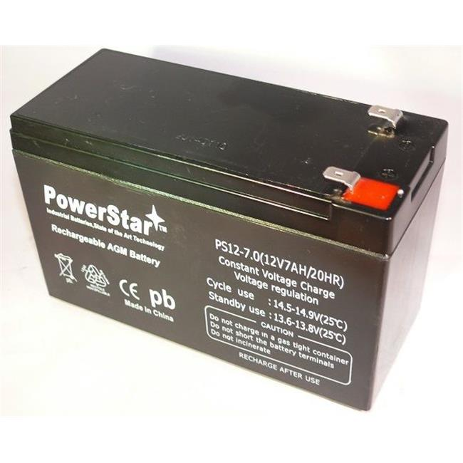 PowerStar PS12-7-58 12V 7. 0Ah Battery Apc Es500 Es550 Rbc110 Replaces 12V 8Ah Or 12V 9Ah