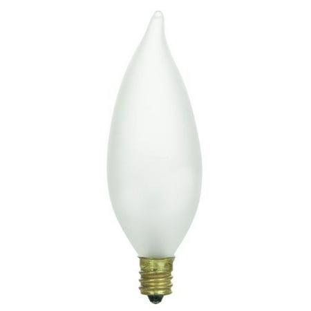 Frost Incandescent Pendant - Sunlite 15CFF/25/CD2 Incandescent 15-Watt, Candelabra Based, Petite Chandelier Bulb, Flame Tip, Frost, Carded 2-Pack