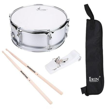 HERCHR Student Drums, Stainless Steel Snare Drum Beginner Kit with Bag Drumstick Strap Silencer Mute, Beginner Drum