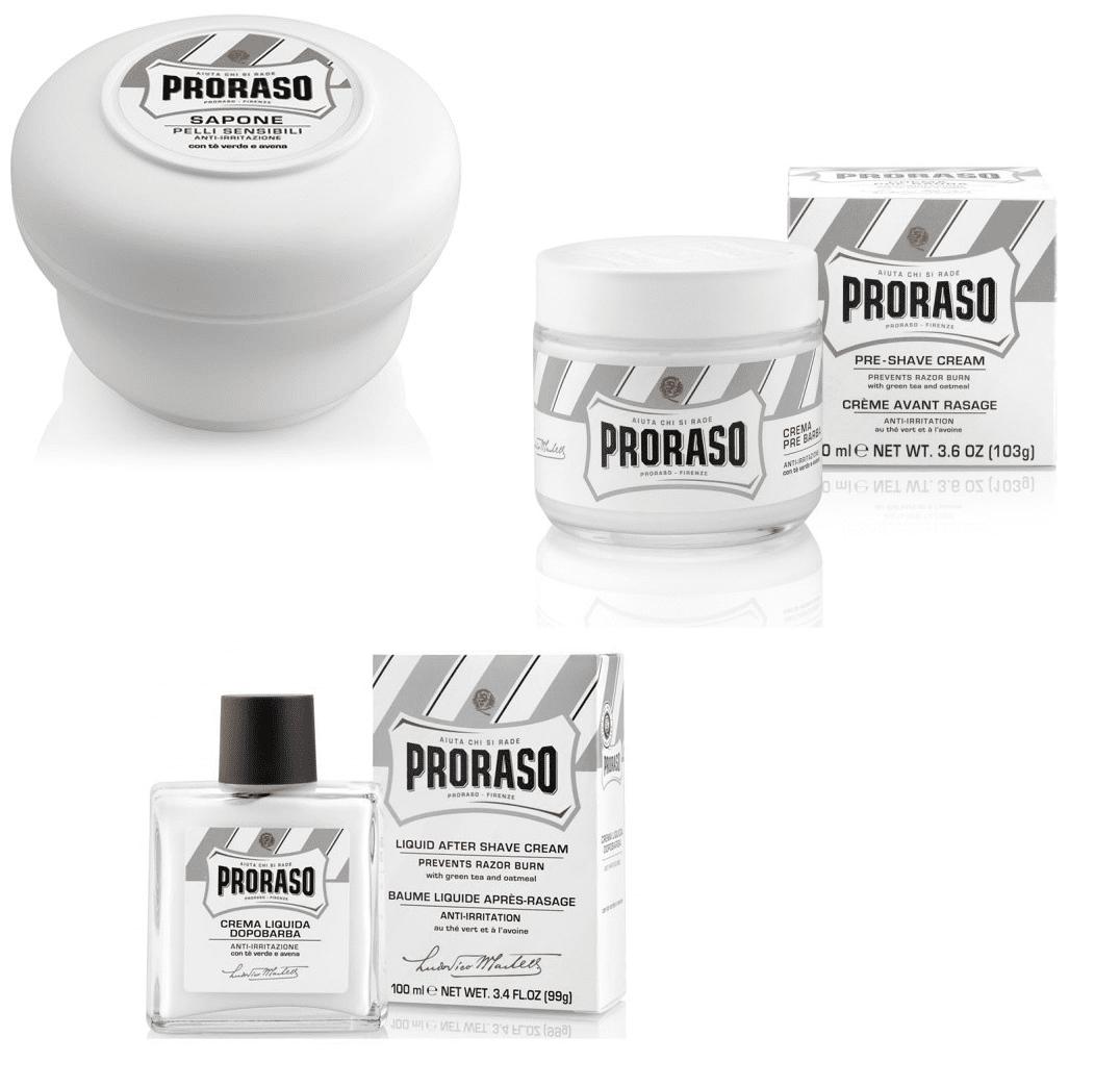 Proraso for Sensitive Skin Set: Pre-shave Cream 3.6oz + Shave Soap 5.2oz + Aftershave Balm 3.4oz + Makeup Blender