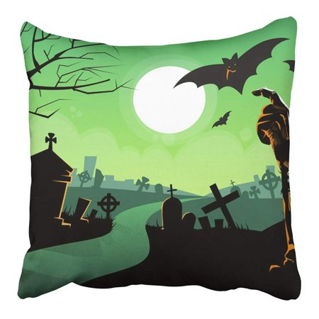 ARHOME Zombie Dead Skeleton Hand from Ground Vampire Bat Halloween Cemetery River Pillowcase Cushion Cover 16x16 inch](Halloween Cemetery)