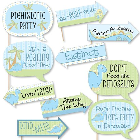 Funny Baby Boy Dinosaur - Baby Shower or Birthday Party Photo Booth Props Kit - 10 - Boy Baby Shower Kits