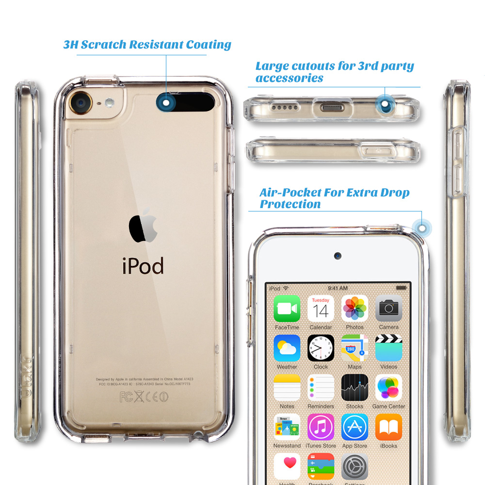 buy popular 54871 6a701 iPod Touch 6th Generation Case,iPod Touch 7 Case, iPod 5 Case, ULAK Clear  Hybrid Flexible Soft TPU Case Shock Absorbing Hard Plastic Cover for iPod  ...