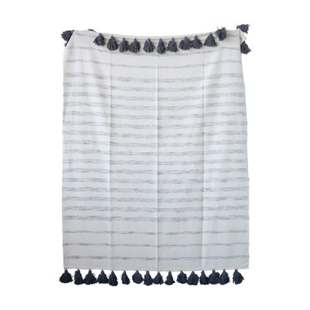 B&m Short Throw - 3R Studios Cream Cotton Woven Throw with Grey Stripes and Tassels