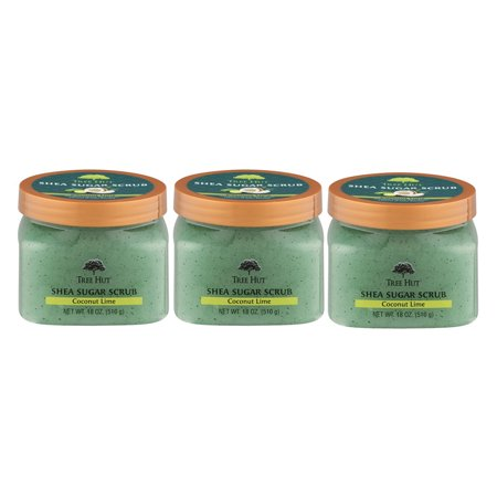 (3 Pack) Tree Hut Shea Sugar Coconut Lime Body Scrub, 18 -