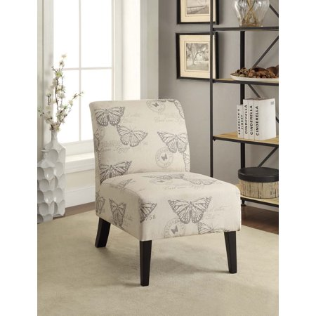 Linon Linen Lily Chair, Multiple Patterns, 17.5 inches Seat Height ()