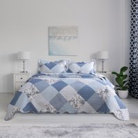 Bedsure 2-3 Piece Ultra-Soft Floral Patchwork All Season Quilt & Sham Bedding Set