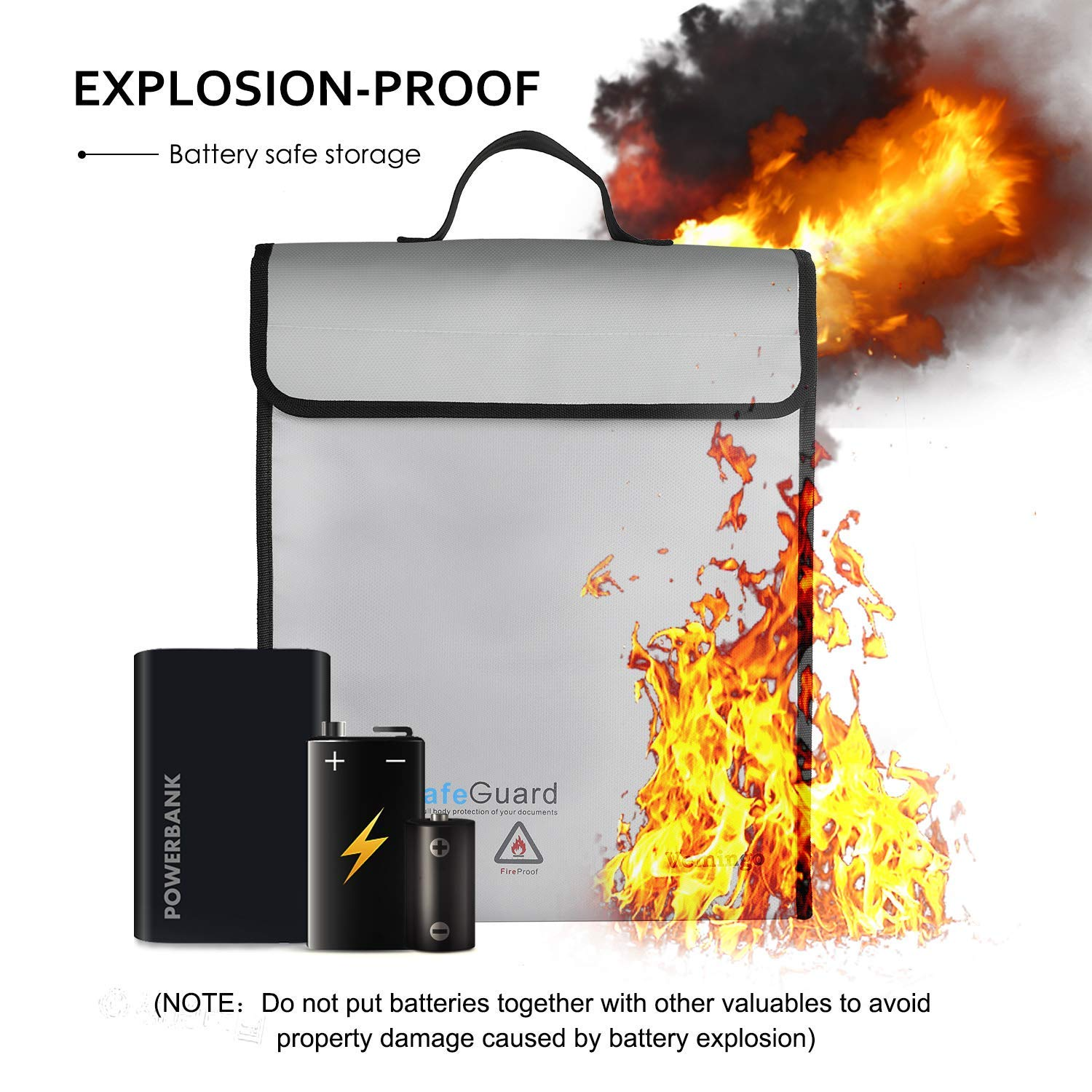 Fire and Water-proof Safe Document Bag Lg // Small Bundle Secure Travel Storage