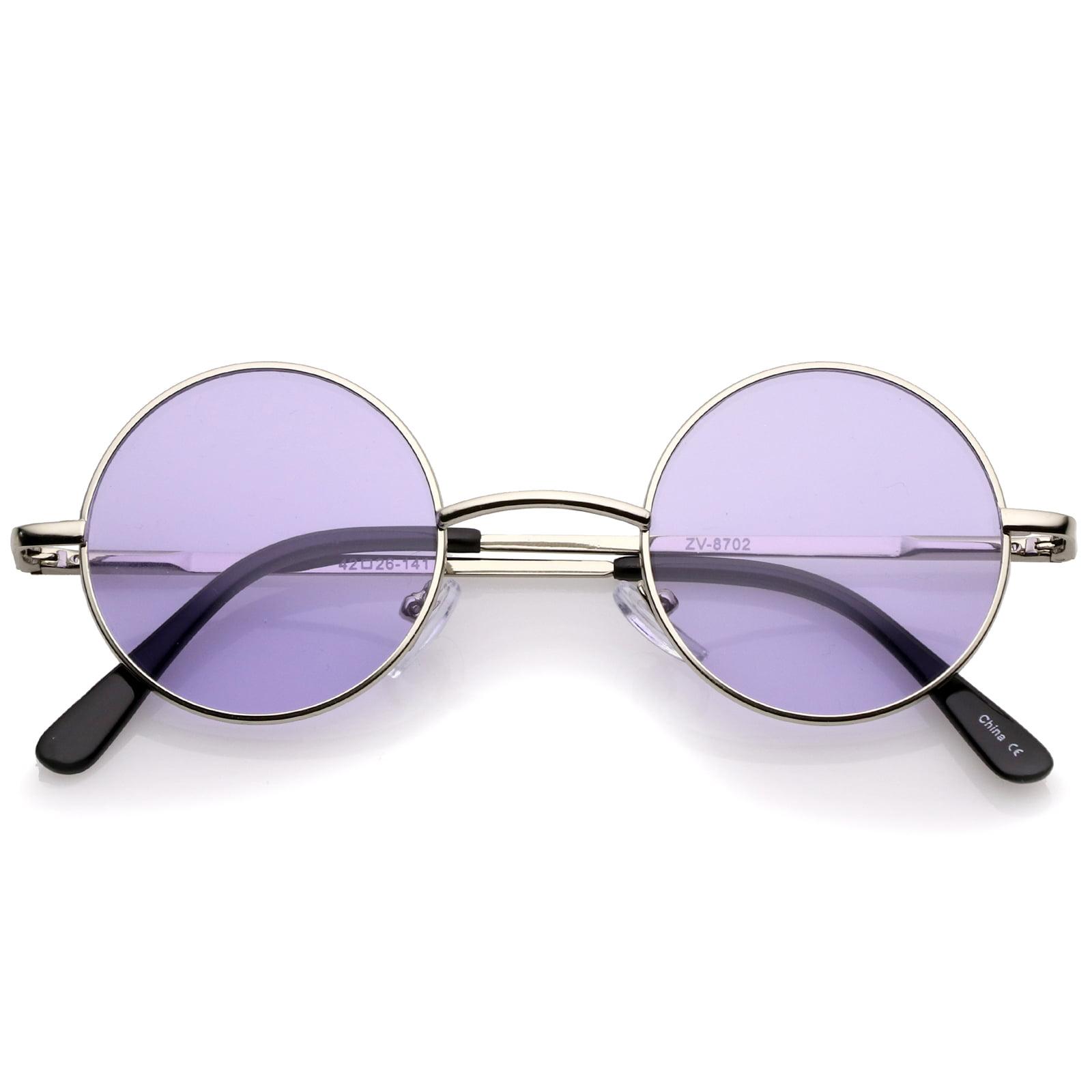 b67b5403068 sunglassLA - sunglassLA - Small Retro Lennon Inspired Style Colored Lens Round  Metal Sunglasses 41mm - 41mm - Walmart.com