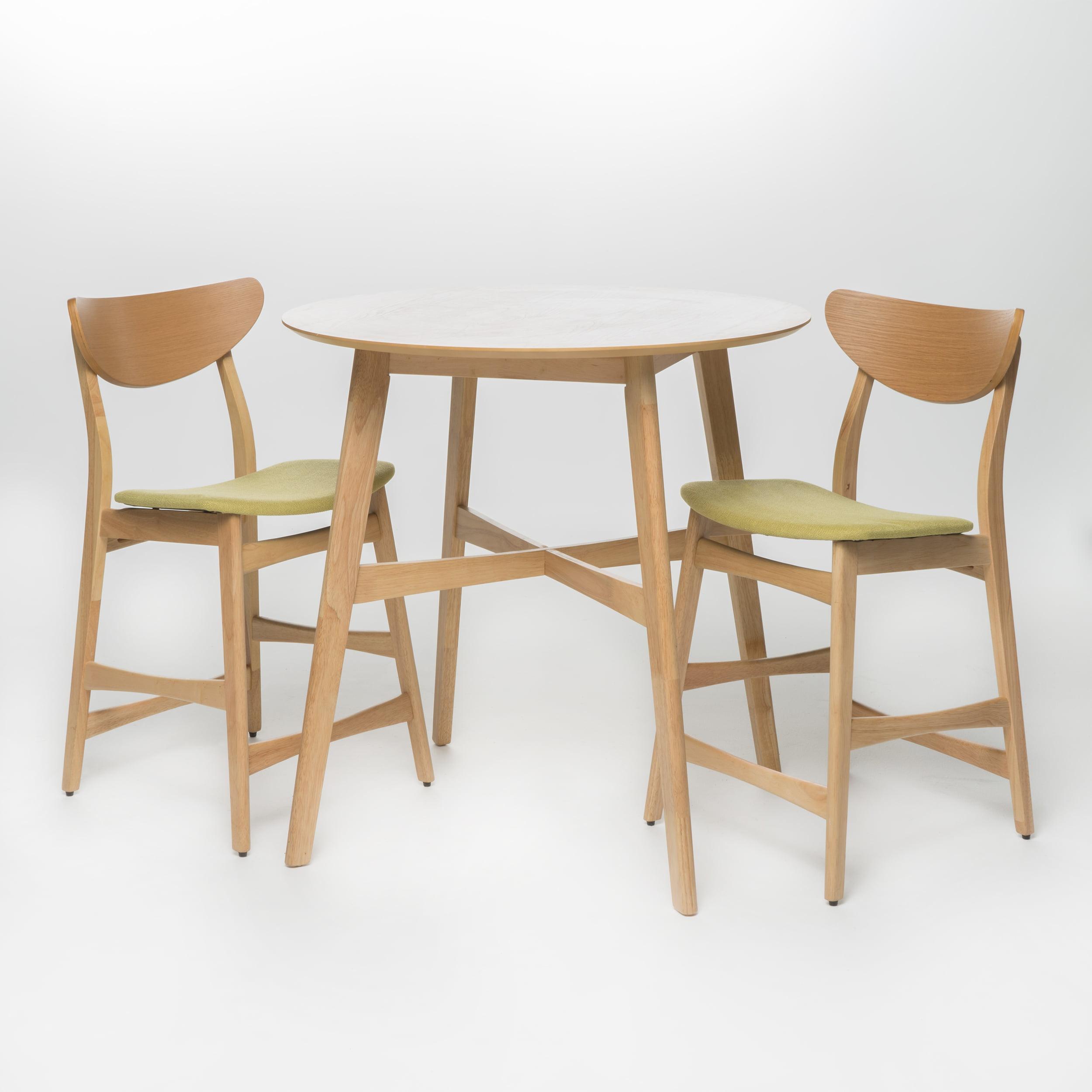 Helen Oak Finish and Fabric Counter Height Dining Set, Green Tea