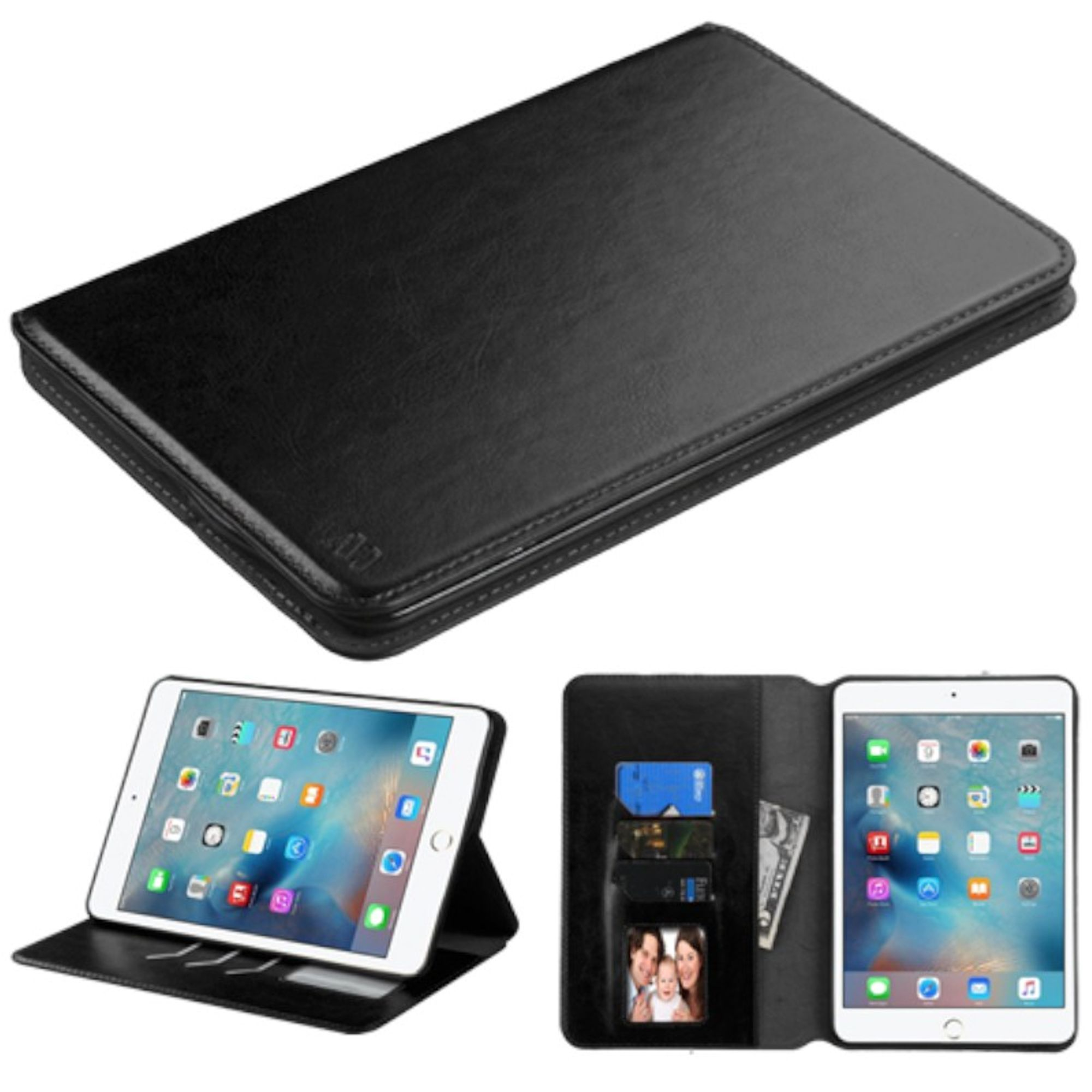 Insten Premium Slim fit Leather Stand Case for Apple iPad 4 Mini 4th Gen 2015 (with Card Slot Holder) Black