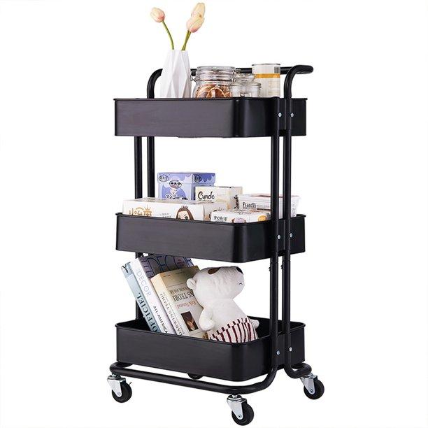 Movable 3 Tier Home Kitchen Storage Utility Cart With Handle Black Walmart Com Walmart Com