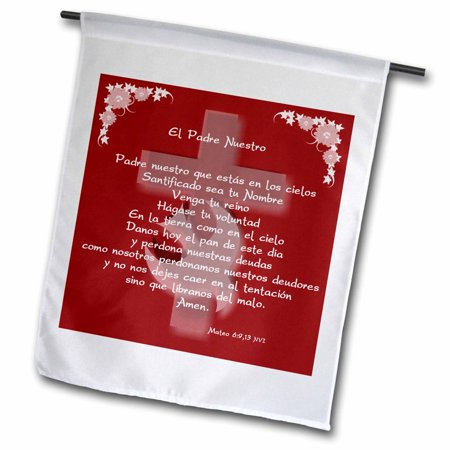 Image of 3dRose The Lords Prayer in Spanish. White text and floral design over dove and cross on a maroon background - Garden Flag, 12 by 18-inch