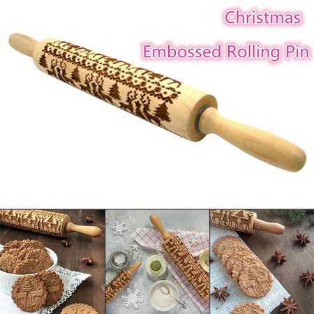 "Holiday Clearance Christmas Wooden Rolling Pins 13.77""x 1.96"", Engraved Embossing Rolling Pin with Christmas Symbols for Baking Embossed Cookies"