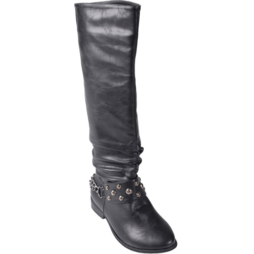 Brinley Co. Women's Stud Detail Slouchy Boots