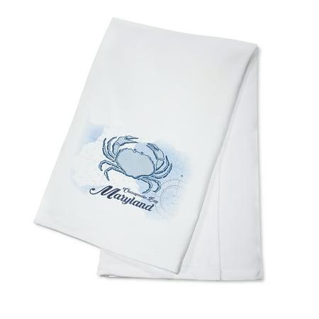 - Chesapeake Bay, Maryland - Crab - Blue - Coastal Icon - Lantern Press Artwork (100% Cotton Kitchen Towel)