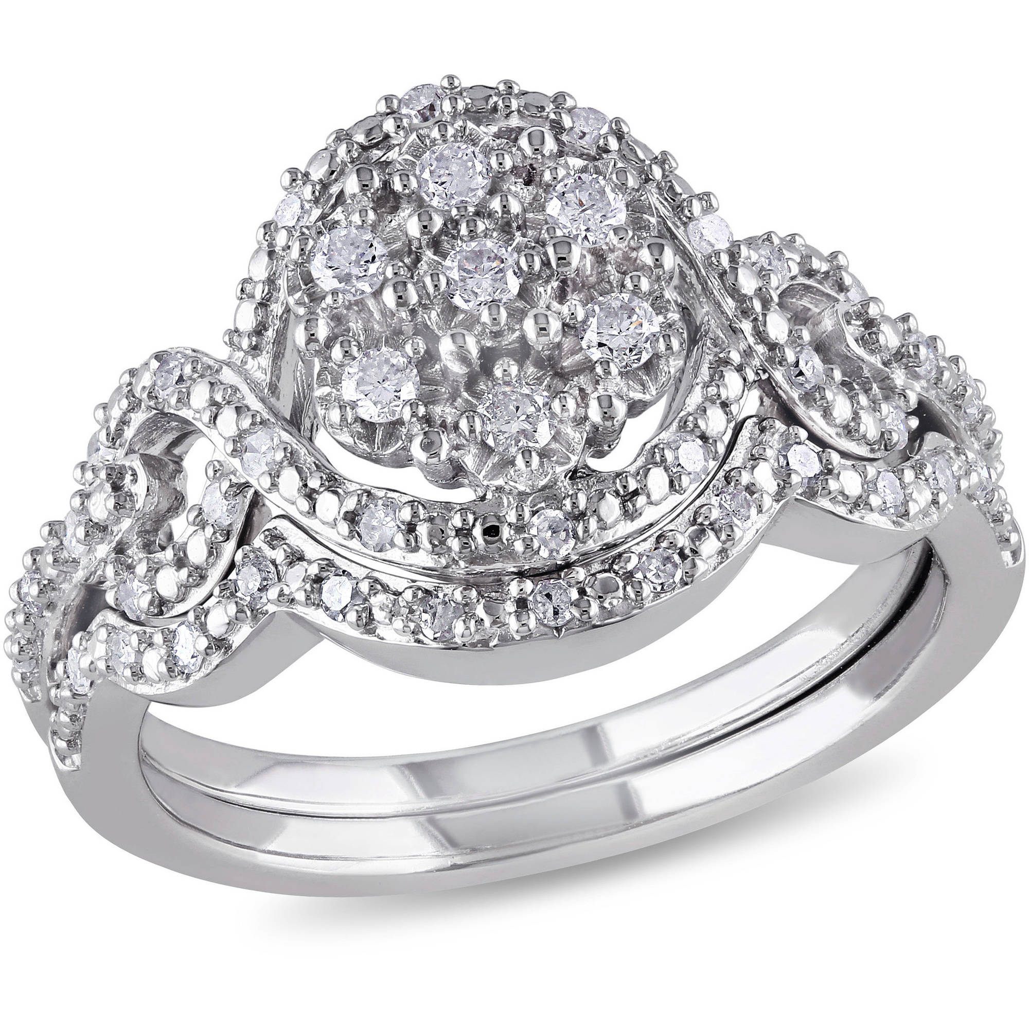 Miabella 1/3 Carat T.W. Diamond Sterling Silver Bridal Set