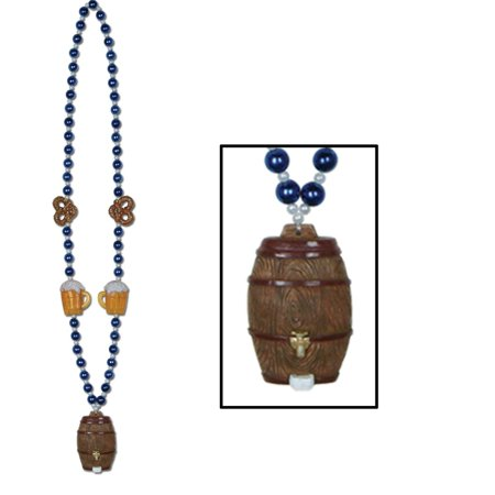 Club Pack of 12 Shiny Blue and White Oktoberfest Beads with Beer Keg Medallion Party Necklaces 40