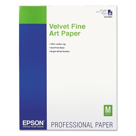 Epson Velvet Fine Art Paper, 17 x 22, White, 25 Sheets/Pack -EPSS042097