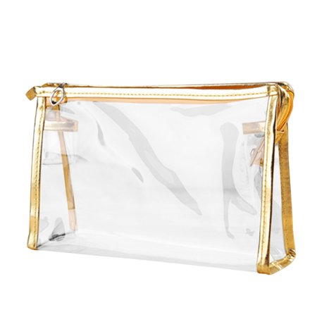 1X Clear Transparent Plastic PVC Travel Cosmetic Make Up Toiletry Bag Zipper ()