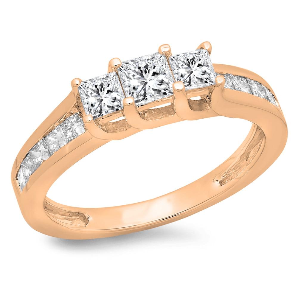 1.00 Carat (ctw) 10K Rose Gold Princess Cut Diamond Ladies Bridal 3 Stone Engagement Ring 1 CT