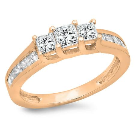 1.00 Carat (ctw) 10K Rose Gold Princess Cut Diamond Ladies Bridal 3 Stone Engagement Ring 1