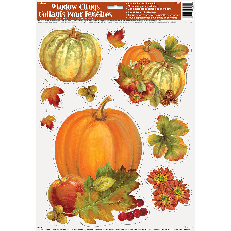 Pumpkin Harvest Fall Window Cling Sheet, 1ct