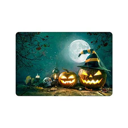 MKHERT Halloween Pumpkin Head Jack Lantern Skull Doormat Rug Home Decor Floor Mat Bath Mat 23.6x15.7 inch