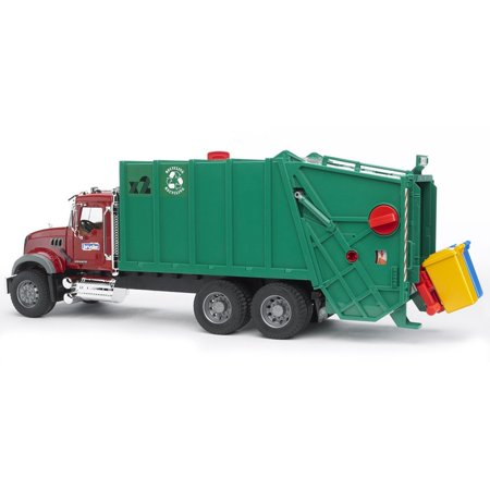 Bruder Toys Realistic Mack Granite Play Garbage Truck, Red and Green | (Lil Red Truck)
