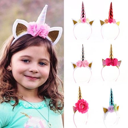 bluelans - Kids Girls Unicorn Horn Flower Bow-knot Ears Hairband Birthday  Party Headband - Walmart.com d6b2b6bc816