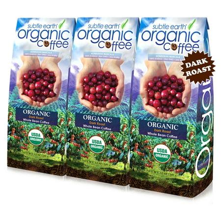 Plantation Organic Coffee ((3 Pack) Subtle Earth Organic Dark Roast Whole Bean Coffee, 12 oz)
